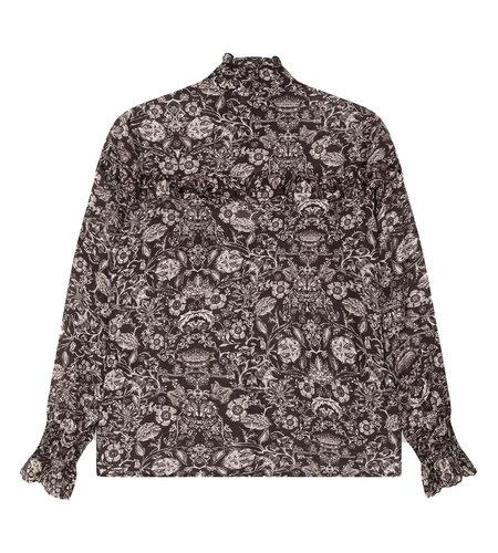 Alix The Label Woven Flower Linen Blouse Black