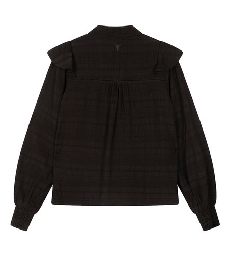 Alix The Label Woven Seer Sucker Stripe Top Black
