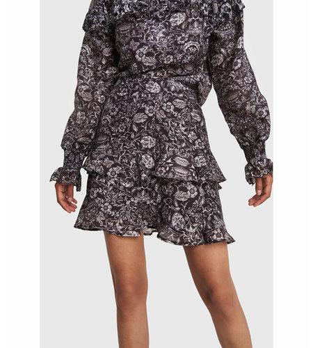 Alix The Label Woven Flower Linen Skirt Black