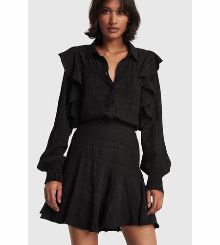 Alix The Label Woven Seer Sucker Stripe Skirt Black