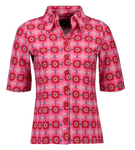Tante Betsy Button Shirt Retro Daisy Pink