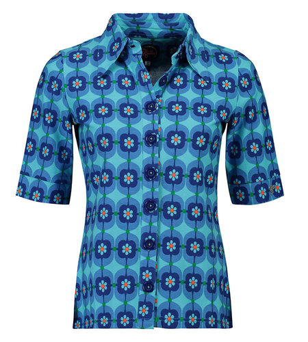 Tante Betsy Button Shirt Retro Daisy Blue