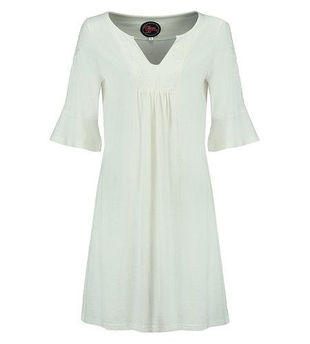 Tante Betsy Tunic Dress White Slub Branch White