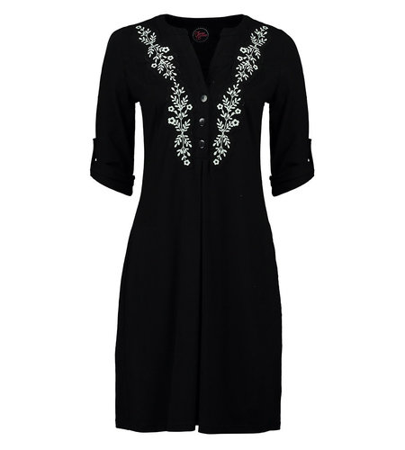 Tante Betsy Soup Dress Black Slub Branch Black