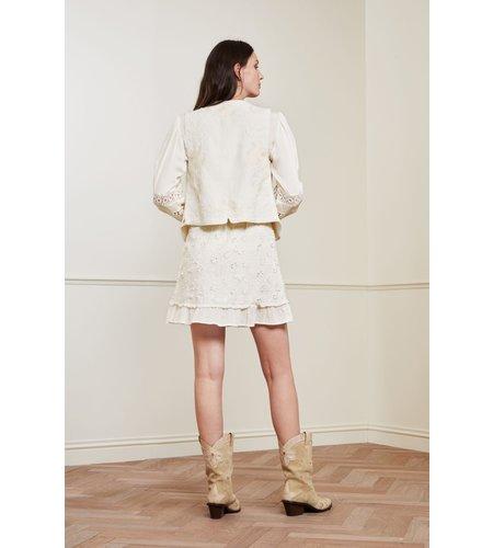 Fabienne Chapot Flower Frill Skirt Cream White