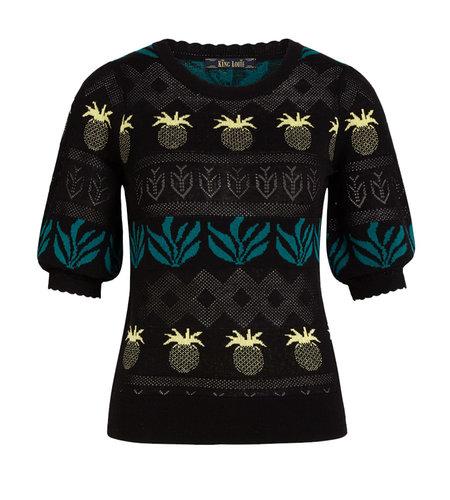 King Louie Agnes Bellsleeve Top Pineapple Black