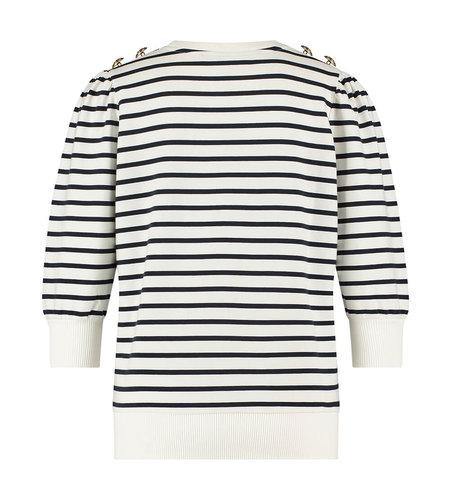 Studio Anneloes Maura Stripe Sweater White Dark Blue