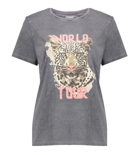 Geisha T-Shirt Acid Dyed Tiger Head Short Sleeve 12109-24 Anthracite