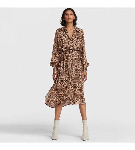 Alix The Label Woven Jaguar Oversized Blouse Dress Animal