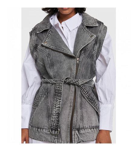 Alix The Label Woven Denim Oversized Waistcoat Charcoal Grey