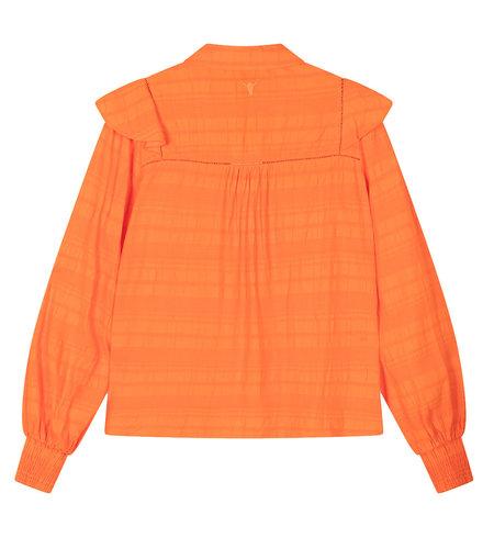 Alix The Label Woven Seer Sucker Stripe Top Tangerine