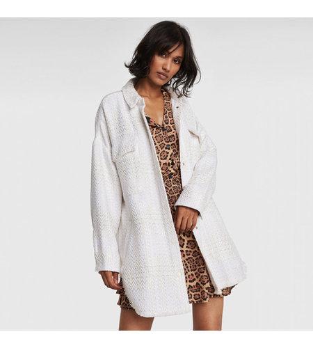 Alix The Label Woven Oversized Shiny Boucle Jacket Creamy White
