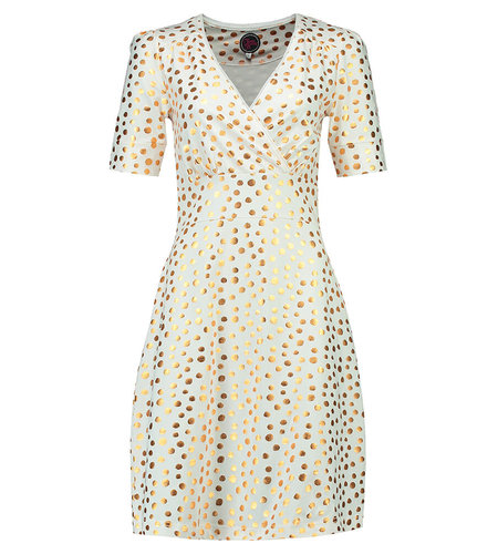 Tante Betsy Dress Auntie Gold Dot White