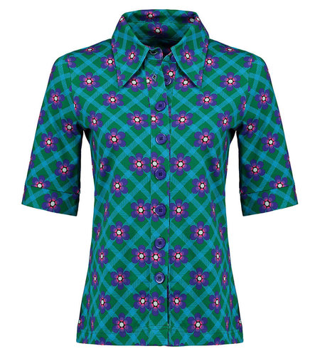 Tante Betsy Button Shirt Chekkie Daisy Green