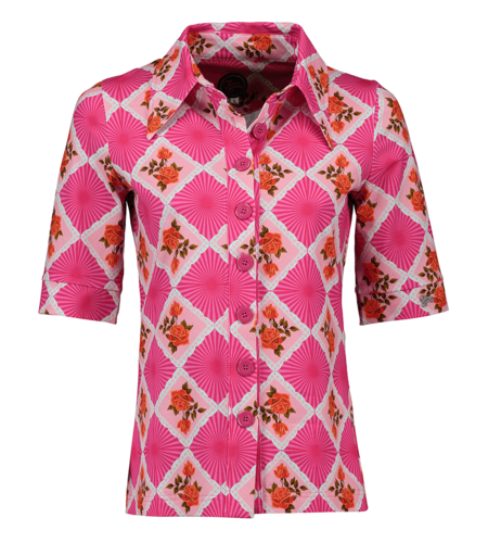 Tante Betsy Button Shirt Doily N Rose Pink