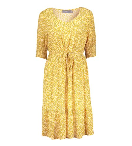 Geisha Dress All Over Print Flowers Smock At Arm 17056-26 Yellow White