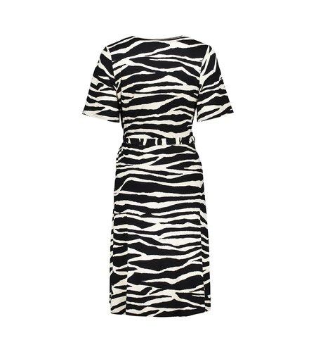 Geisha Dress Zebra Strap At Waist Short Sleeve 17130-20 Black Sand Combi
