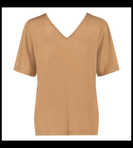 Studio Anneloes Ella 2way Satin Shirt Camel