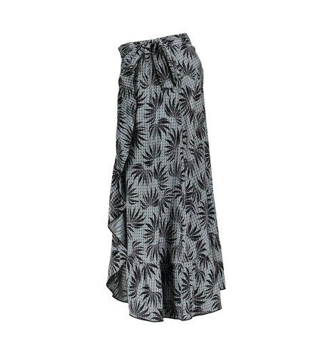 Geisha Skirt All Over Print Wrap Ruffles 16076-20 Black Grey Combi