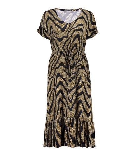 Geisha Dress Long All Over Print Short Sleeve 17062-40 Black Ocre