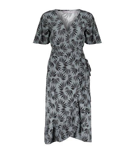 Geisha Dress Wrap With Ruffle Short Sleeve 17104-20 Black Grey Combi