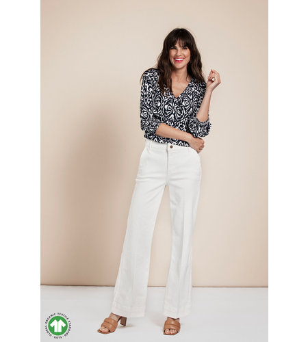Studio Anneloes Marly Organic Flare Trousers Off White