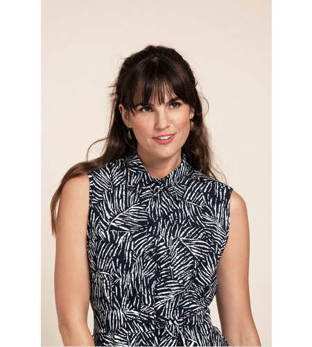Studio Anneloes Indy Shortsleeve Leaf Dress Dark Blue Off White