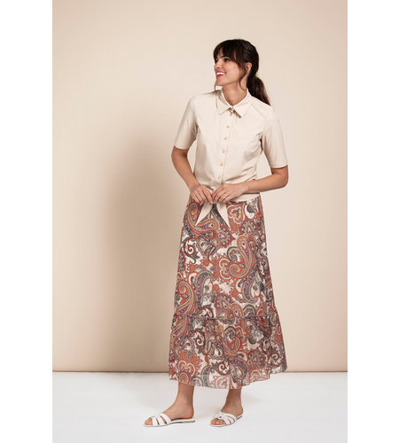 Studio Anneloes Sila Paisly Crepe Skirt Off White Raspberry