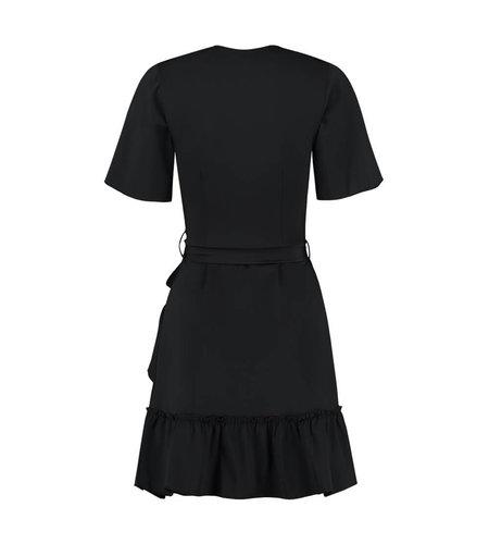 NIKKIE Suzy Ruffle Wrap Dress Black