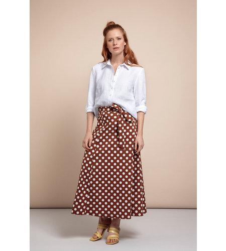 Studio Anneloes Suzy Big Dot Skirt Cinnamon Off White