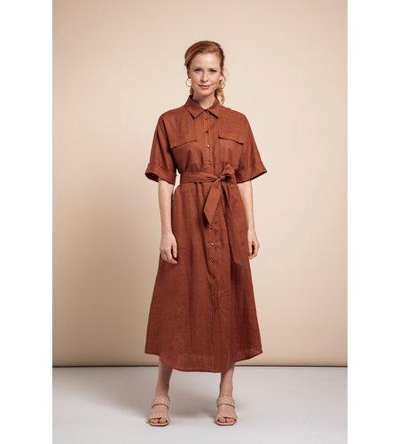 Studio Anneloes Marla Linen Dress Cinnamon