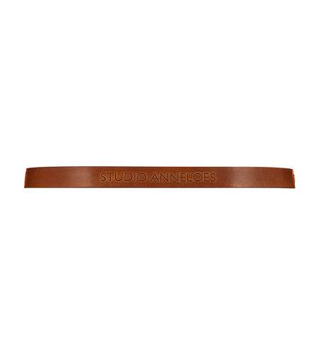 Studio Anneloes SA Logo Leather Gold Belt Cognac
