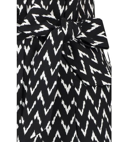 Studio Anneloes Cindy ShortSleeve Zig Zag Dress Black Off White