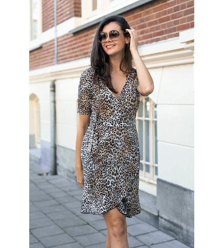 Studio Anneloes Tanja Leopard Dress Off White Black