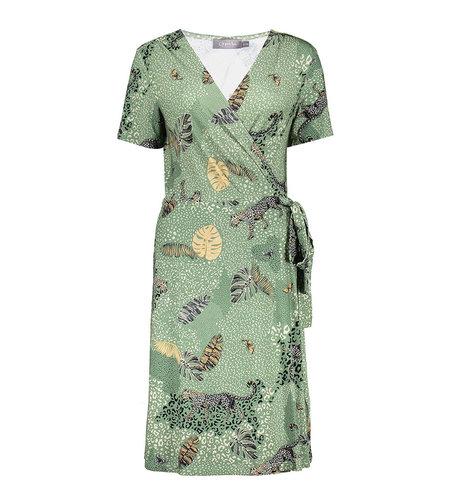 Geisha Dress Lizz Wrap 17394-60 Green Leopard
