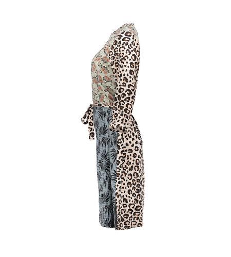 Geisha Dress Combi Print Animal Leaves 17138-20 Sand Combi