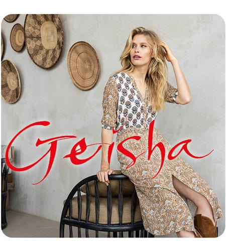 Geisha Dress Combi Print Strap At Waist 17135-20 Sand Tabacco Combi