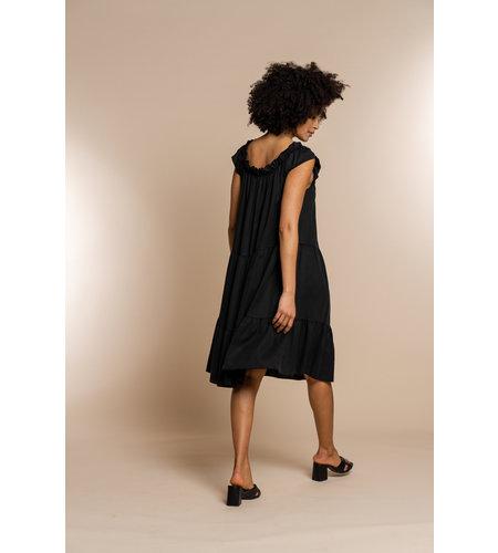 Geisha Dress Tappered Elastic Neck 17092-70 Black