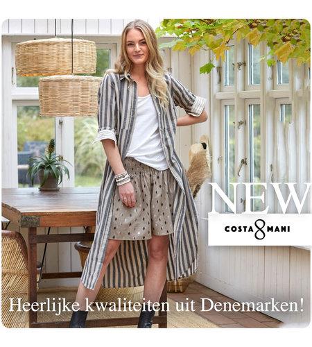 Costa Mani Oats Collar Dress Linen Stripe