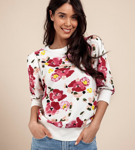 Studio Anneloes Maureen Allover Print Sweater White Raspberry