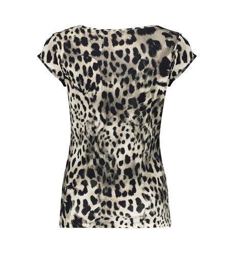 Geisha T-Shirt Kate 12423-60 Sand Black Leopard