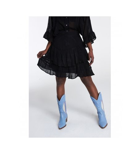Alix The Label Ladies Woven Embroidery Chiffon Skirt Black