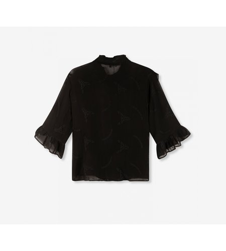 Alix The Label Ladies Woven Embroidery Chiffon Blouse Black
