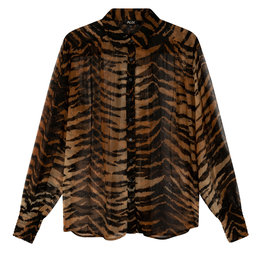 Alix The Label Ladies Woven Tiger Crinkle Chiffon Blouse