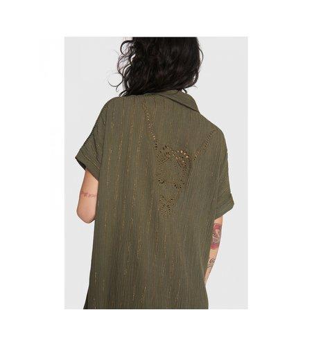 Alix The Label Ladies Woven Lurex Stripe Crinkle Tunic Dress Dark Olive