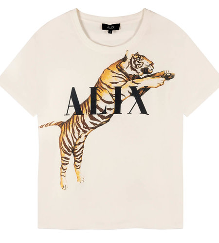 Alix The Label Ladies Knitted Alix Tiger T-Shirt Soft White