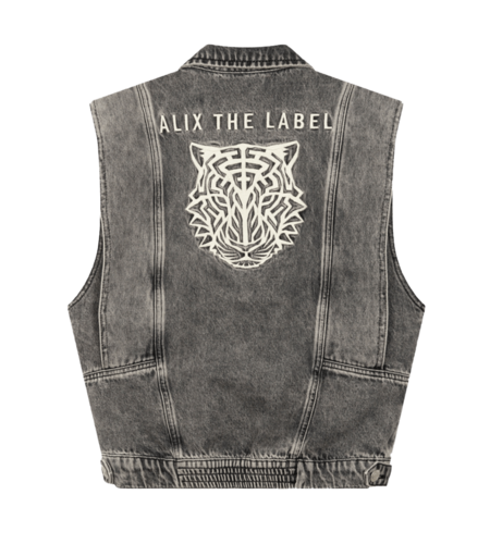 Alix The Label Ladies Woven Embroidered Denim Waistcoat Charcoal Grey