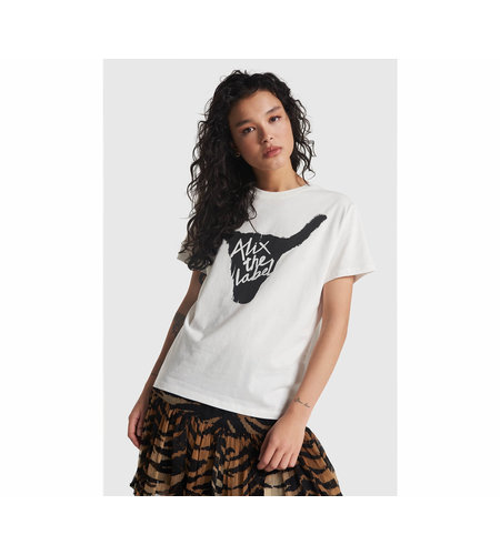 Alix The Label Ladies Knitted Alix Bull T-Shirt Soft White