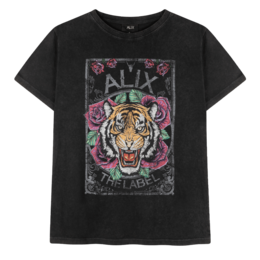Alix The Label Ladies Knitted Acid Washed Tiger T-Shirt