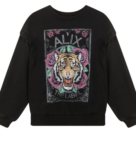 Alix The Label Ladies Knitted Cotton Tiger Sweater Black